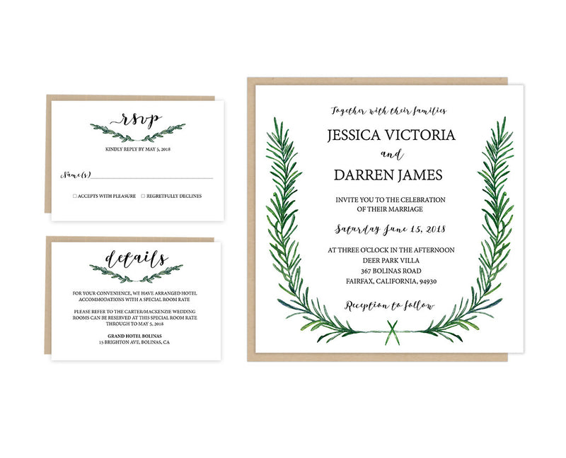 Greenery DIY Editable and Printable Wedding Invitation Set