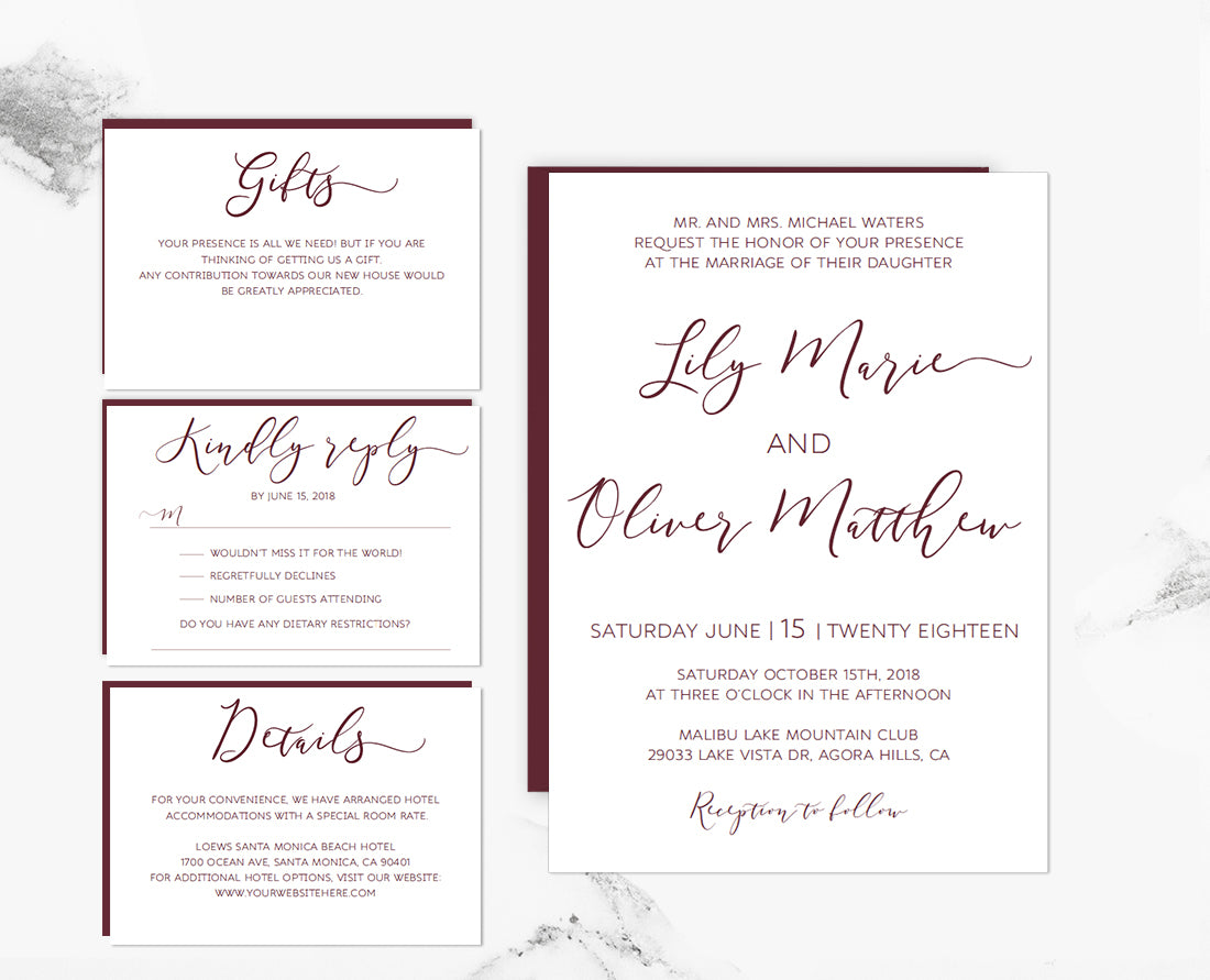 wedding accommodations template