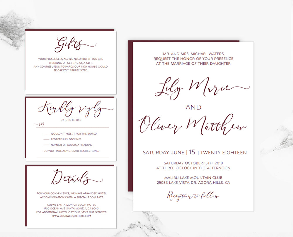 Marsala Loose Calligraphy DIY Editable Wedding Invitation Template - Wedding invitation templates: editable wedding invitation templates