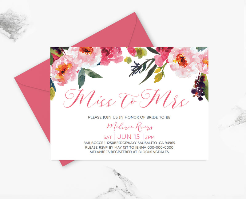 Miss To Mrs Peonies Bridal Shower Invitation Template  Bridal Shower Template