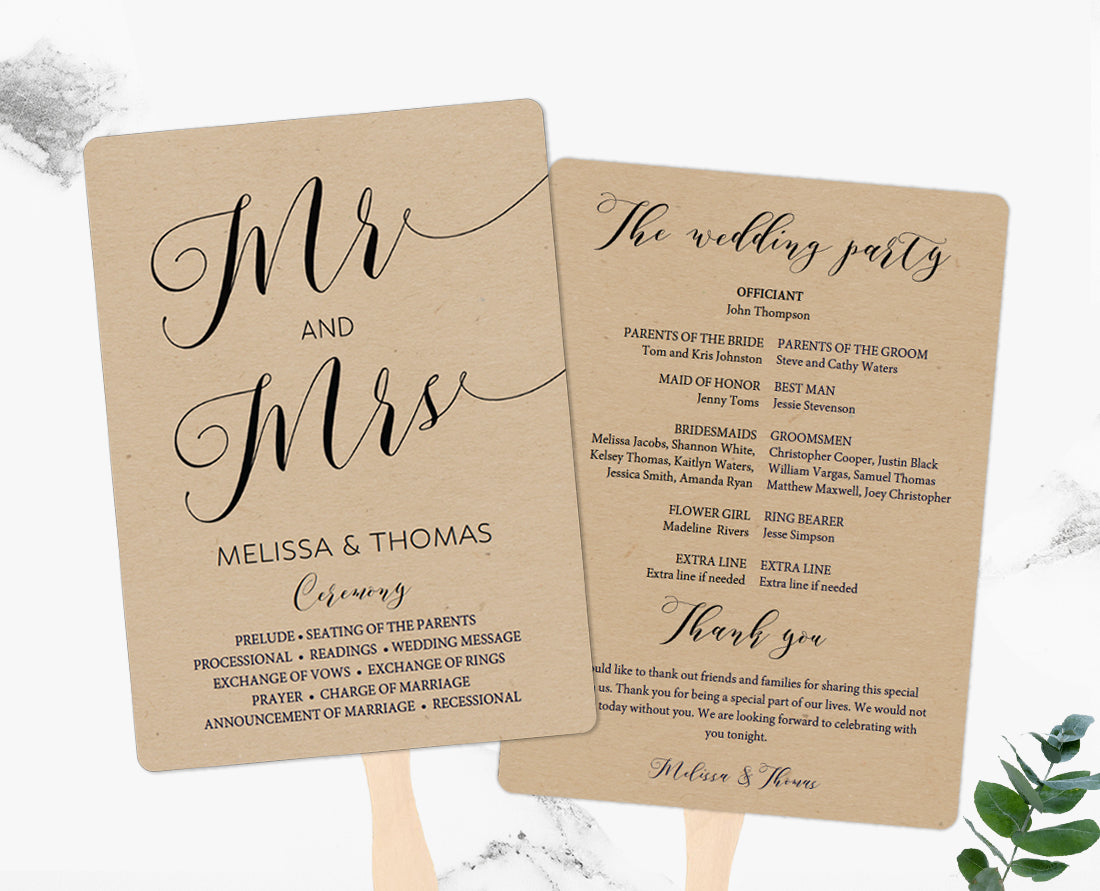 Mr and Mrs Rustic Wedding Program Fan and Flat Template