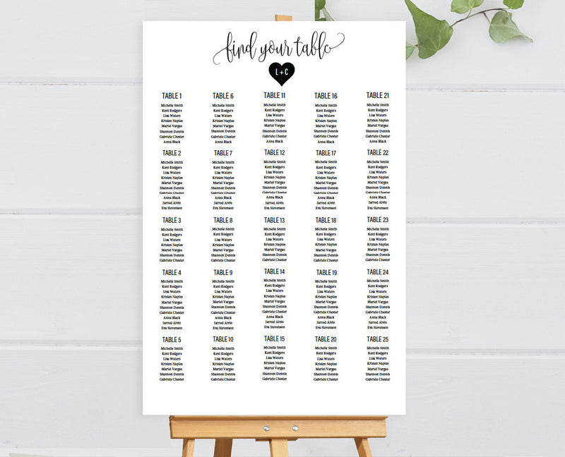 Mr and Mrs DIY Editable and Printable Black Heart Seating Chart