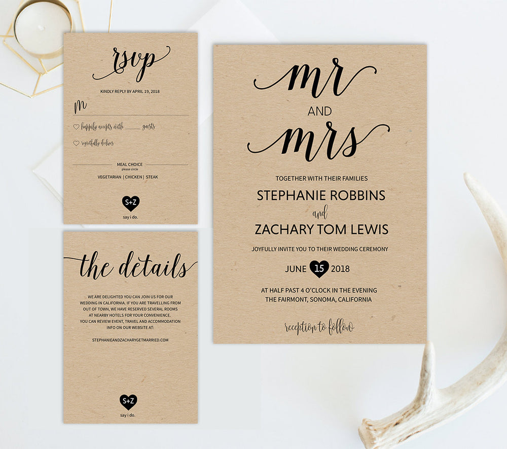 Rustic Mr and Mrs Wedding Invitation Set Template