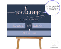 Navy and Blush Wedding Welcome Sign