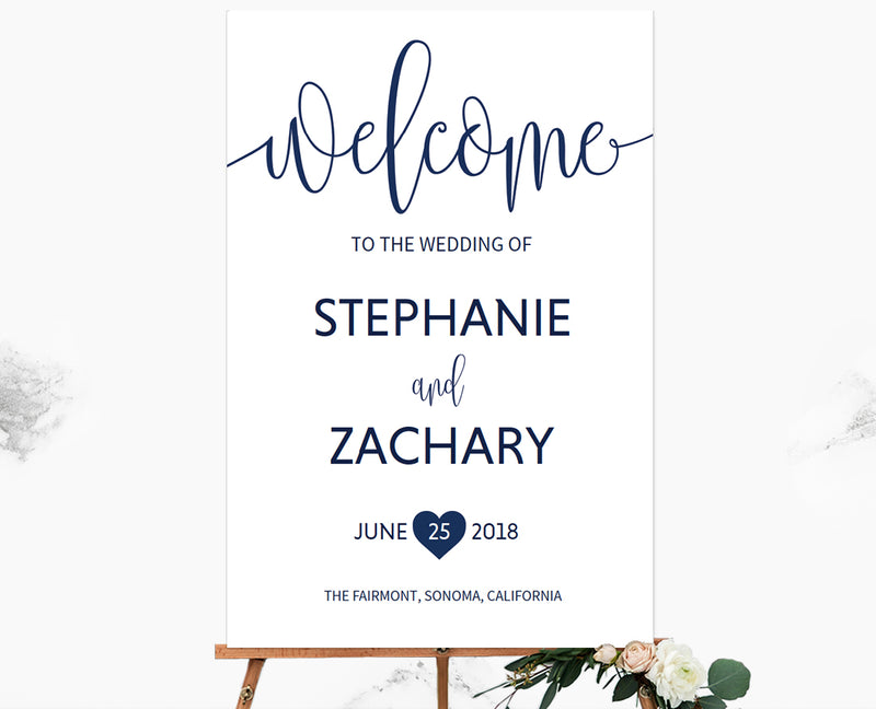 Navy Wedding Welcome Sign Printable
