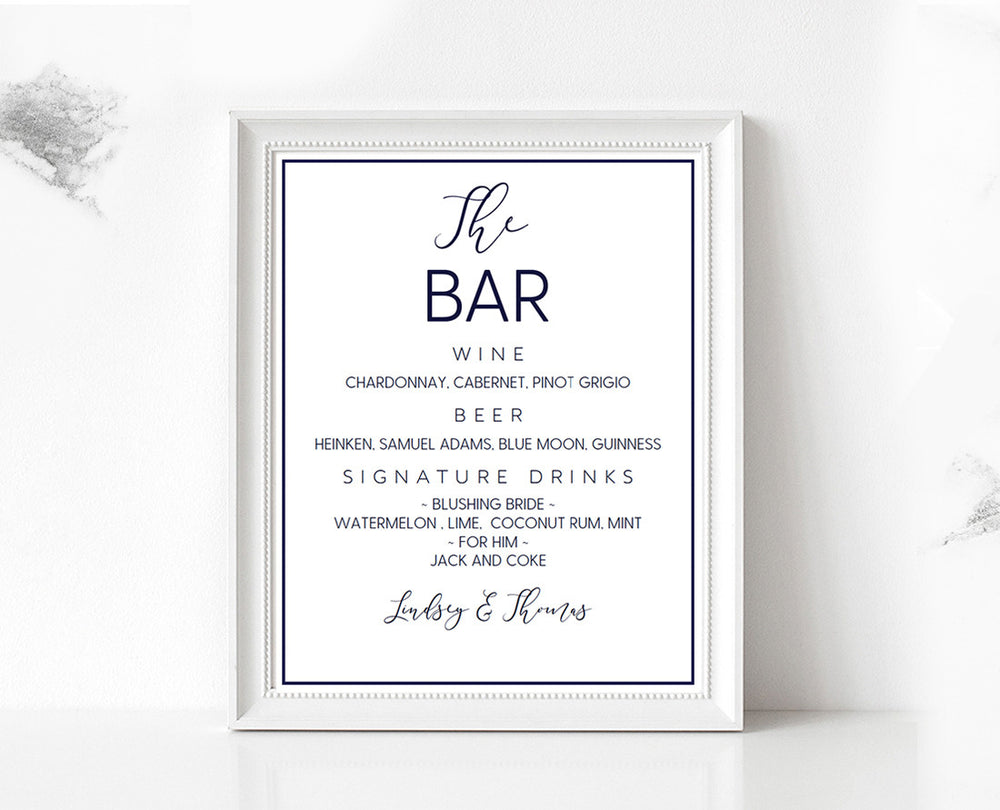 Navy Loose Calligraphy Bar Menu DIY Editable and Printable Wedding Sign Template