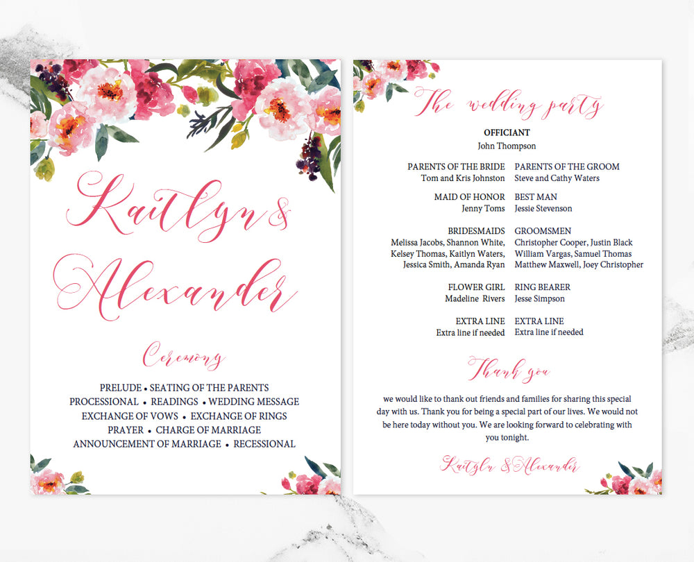 Peonies Floral Wedding Program Template - Floral wedding program templates