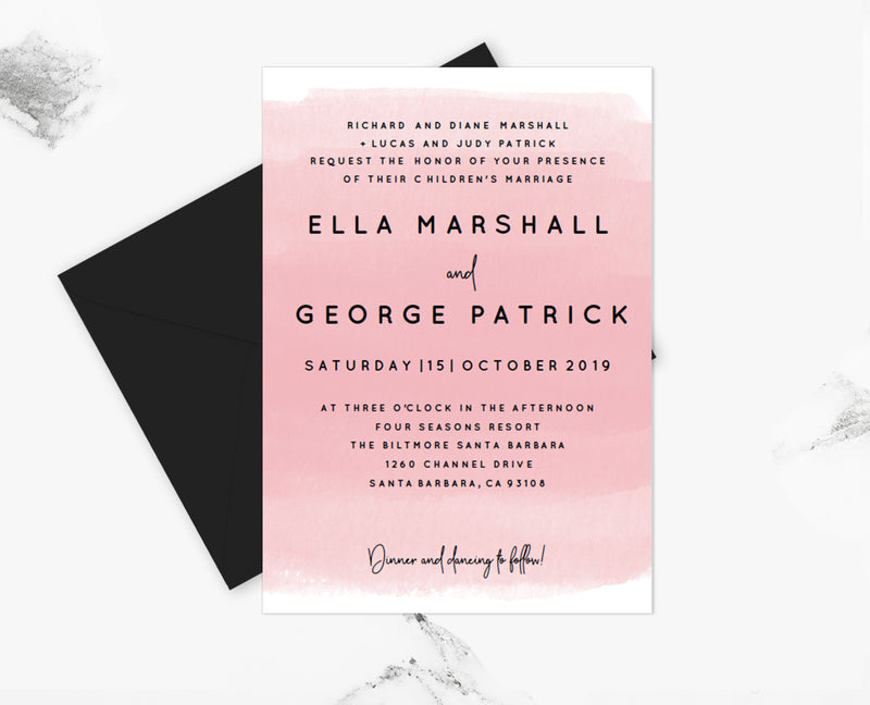 Pink Watercolor Wedding Invitation Template