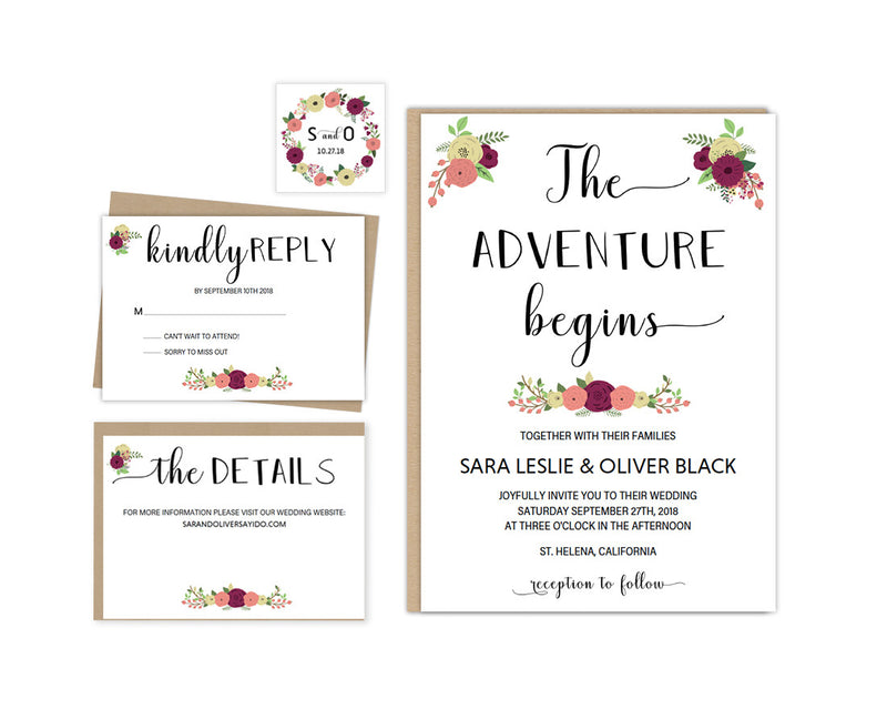 Pretty Floral DIY Editable and Printable Rustic Wedding Invitation Set Template