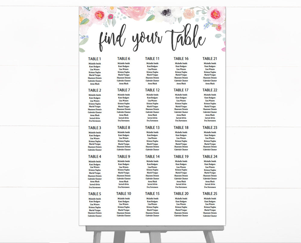 Romantic Floral DIY Editable and Printable Seating Chart Template