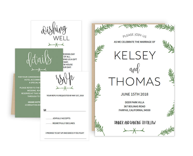Rosemary DIY Editable and Printable Wedding Invitation Set