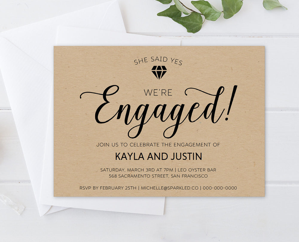 Rustic Diamond Engagement Party Invitation Template