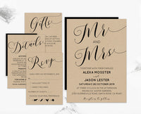 Rustic Mr and Mrs Loose Calligraphy DIY Editable and Printable Wedding Invitation Set Template