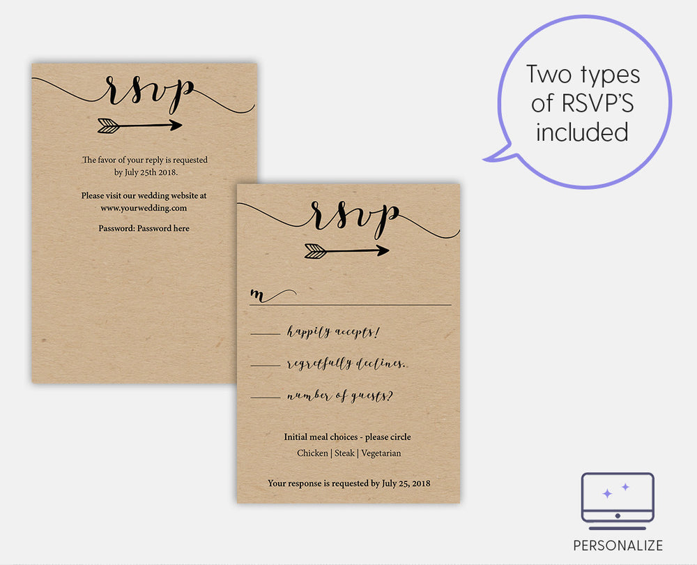Rustic Heart Vines Editable and Printable Black Wedding Invitation