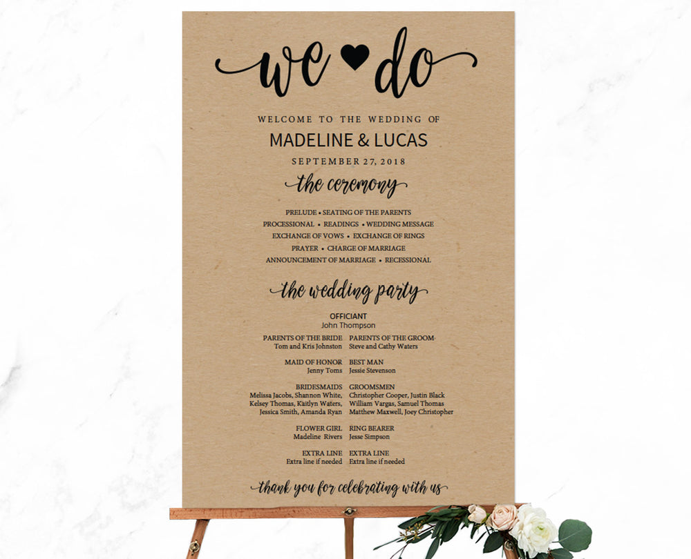 Rustic We Do Calligraphy Editable and Printable Wedding Program Sign Template