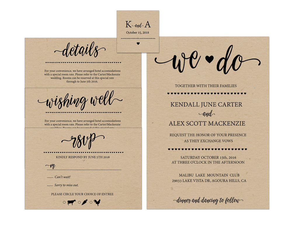 Rustic We Do DIY Editable and Printable Wedding Invitation Set