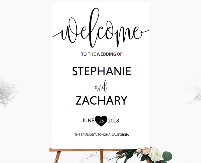 Black Wedding Welcome Sign Printable