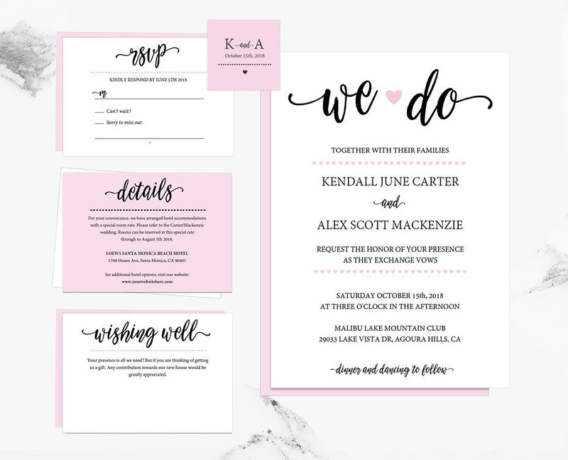 Calligraphy We Do Heart Blush Wedding Invitation Set Template