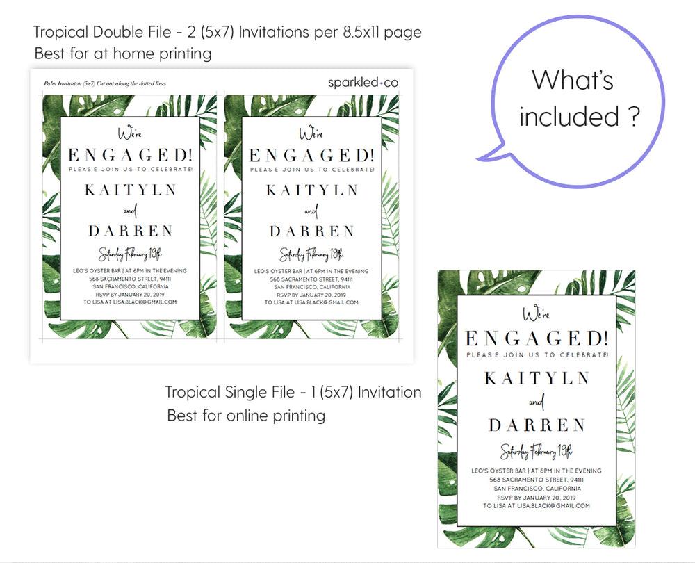 Tropical palm engagement party invitation template stopboris Image collections