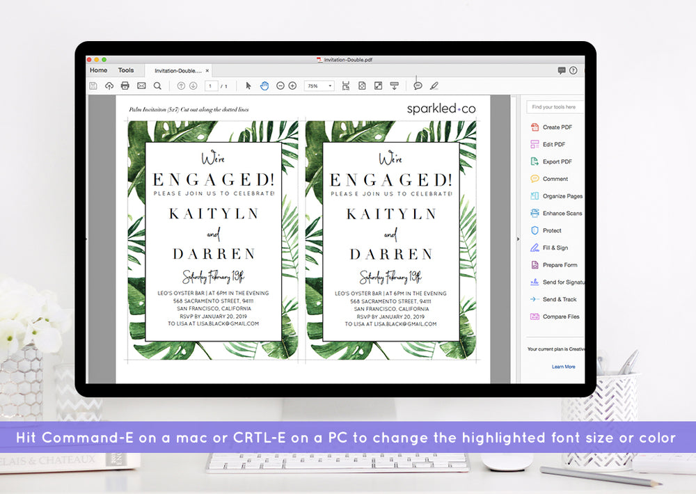 Tropical Palm Engagement Party Invitation Template