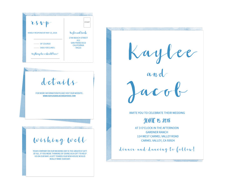 Watercolor DIY Editable and Printable Blue Wedding Invitation Set