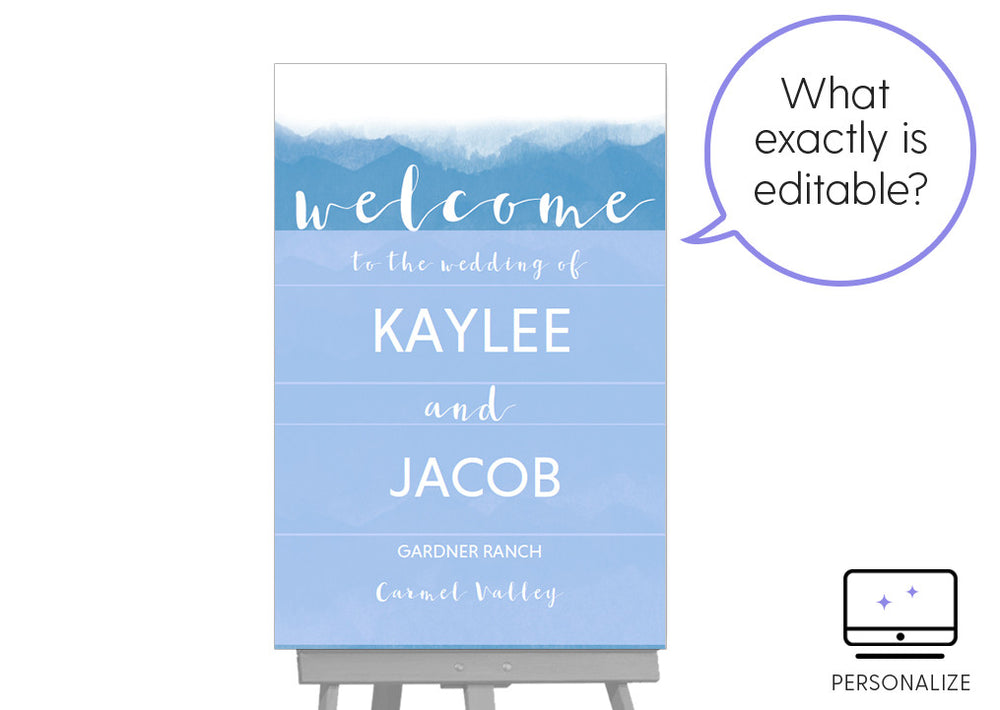 Watercolor DIY Editable and Printable Blue Welcome Sign