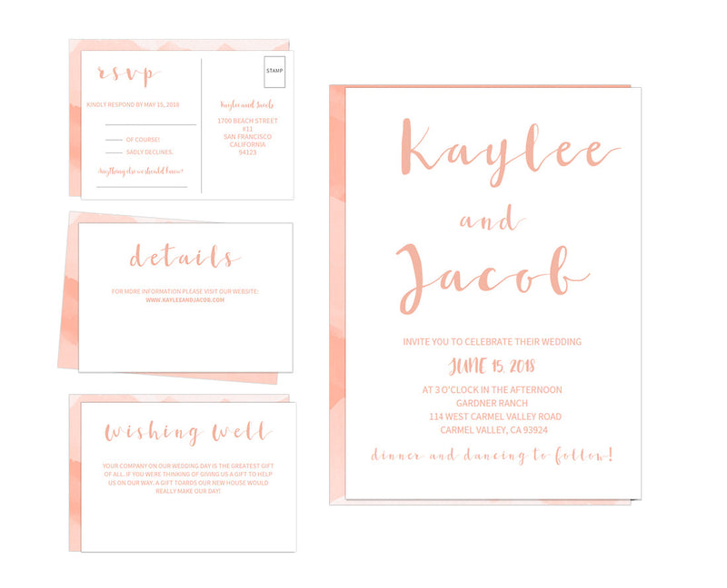 Watercolor DIY Editable and Printable Peach Wedding Invitation Set