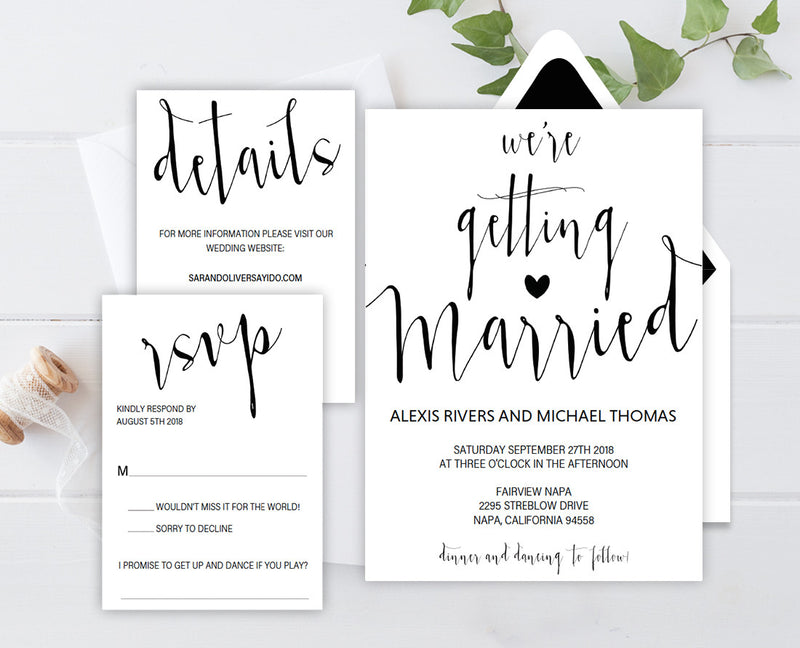 We're Getting Married DIY Editable and Printable Black Wedding Invitation Set