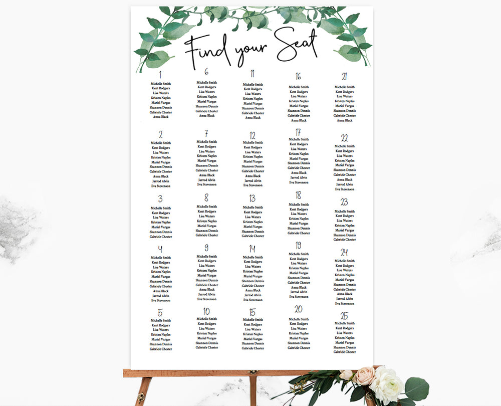 Woodland Greenery Seating Chart Template