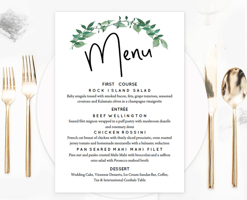Woodland Greenery Wedding Menu Template