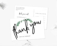 Woodland Greenery Wedding Thank you Postcard Template