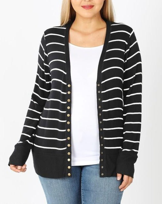 Ivory & Black Stripe Snap Cardigan For Women