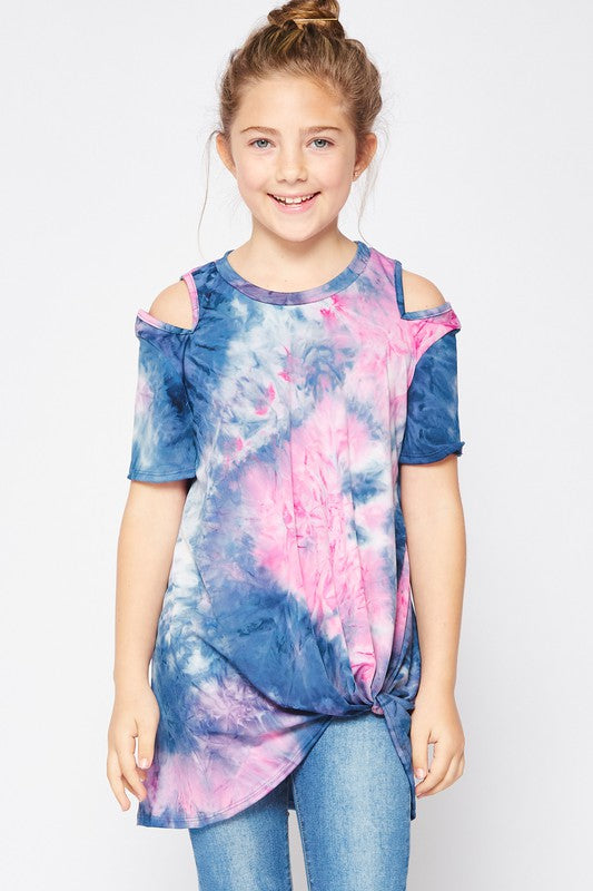 Pink & Navy Tie Dye Cold Shoulder Top For Girls