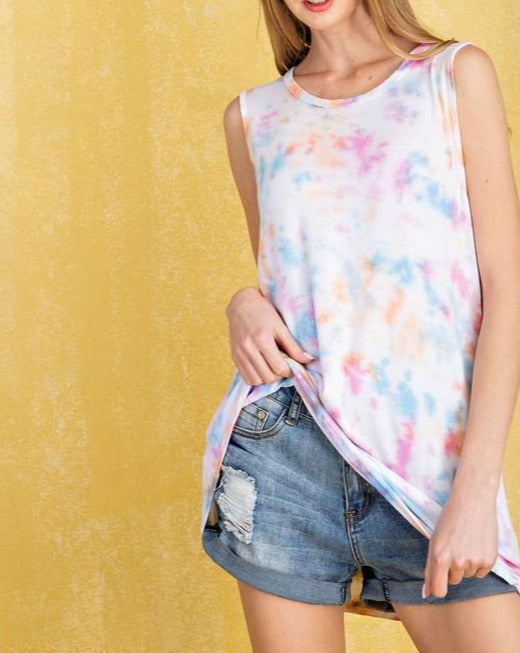 Pink Multi Tie Dye Tank Top For Women