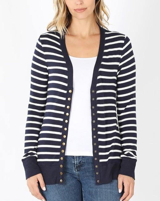 Navy & Ivory Stripe Snap Cardigan For Women