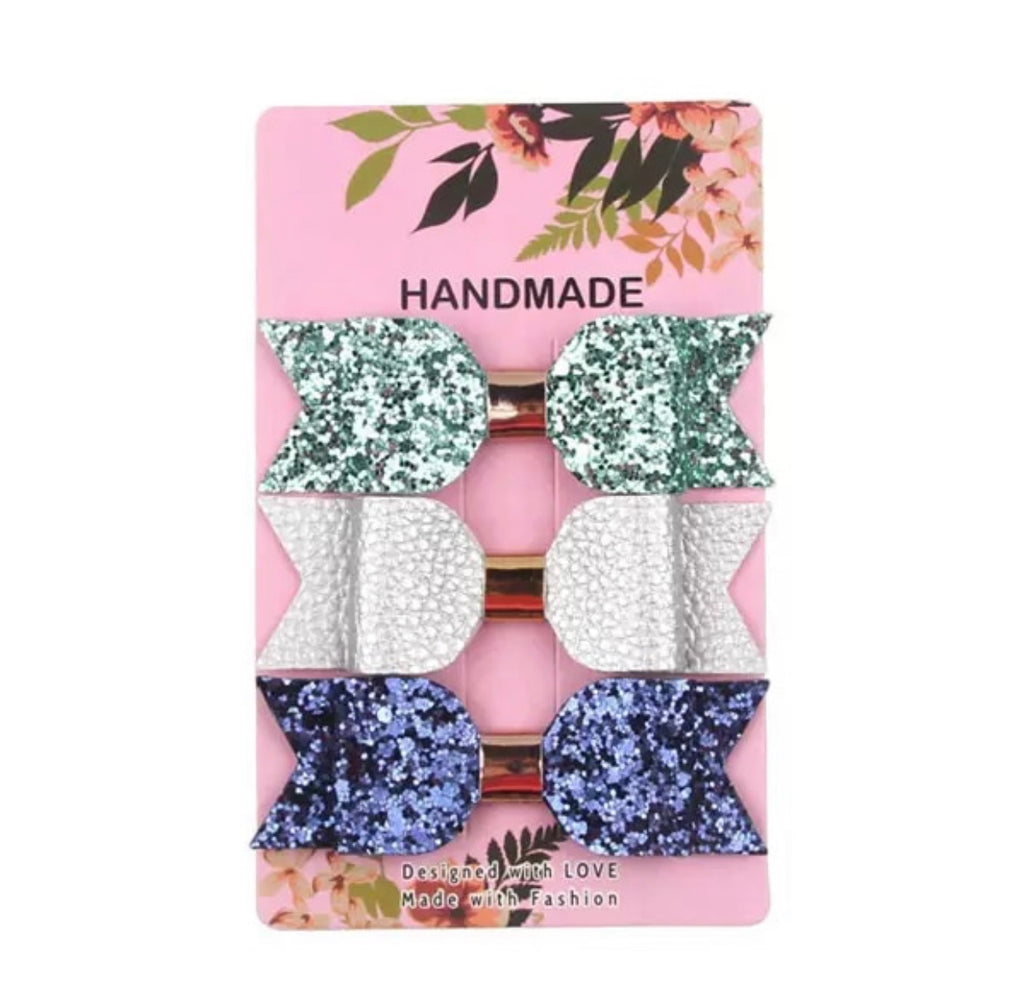 Aqua Glitter / Silver / Navy Glitter Leather Bow Clips 3pk
