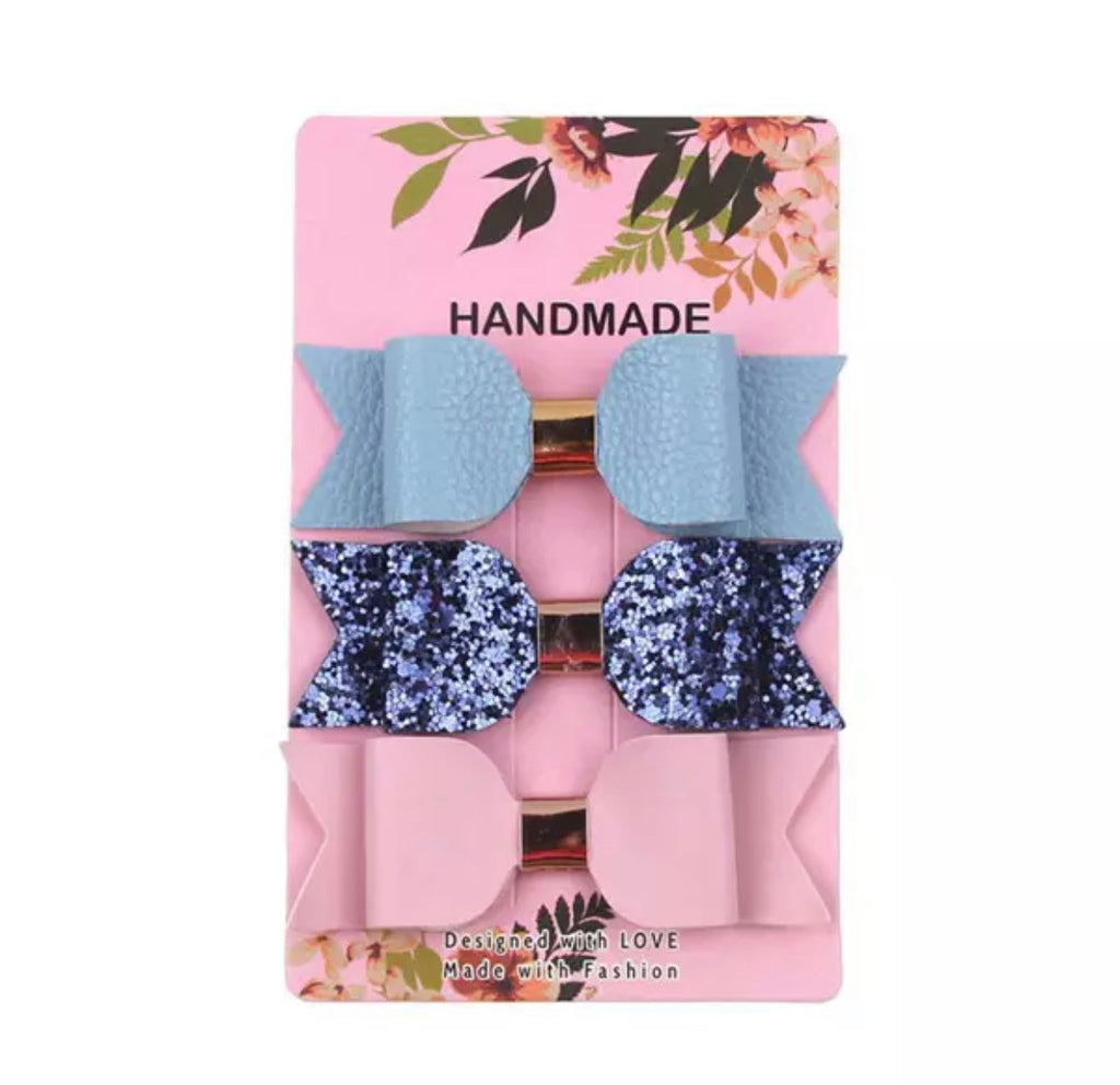 Baby Blue / Navy Glitter / Light Pink Leather Bow Clips 3pk