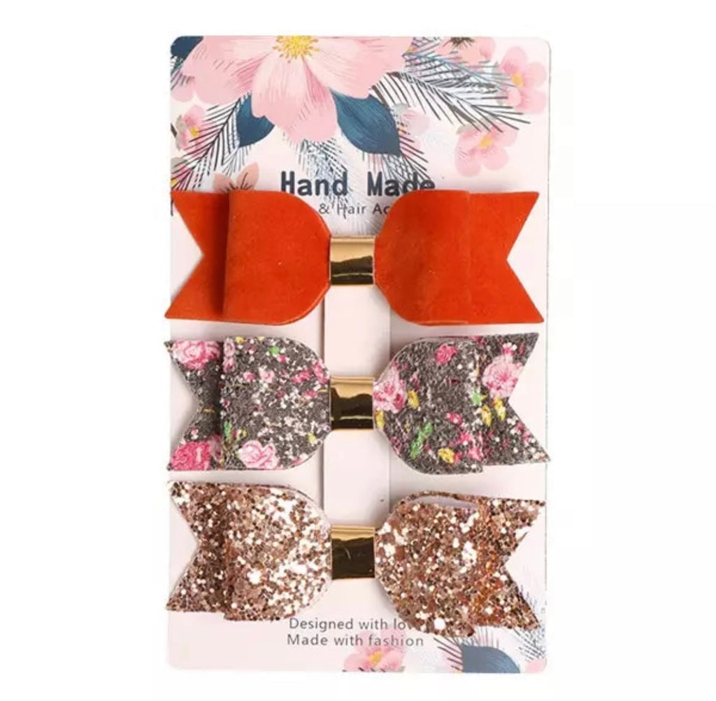 Black Floral Leather Bow Clips 3pk