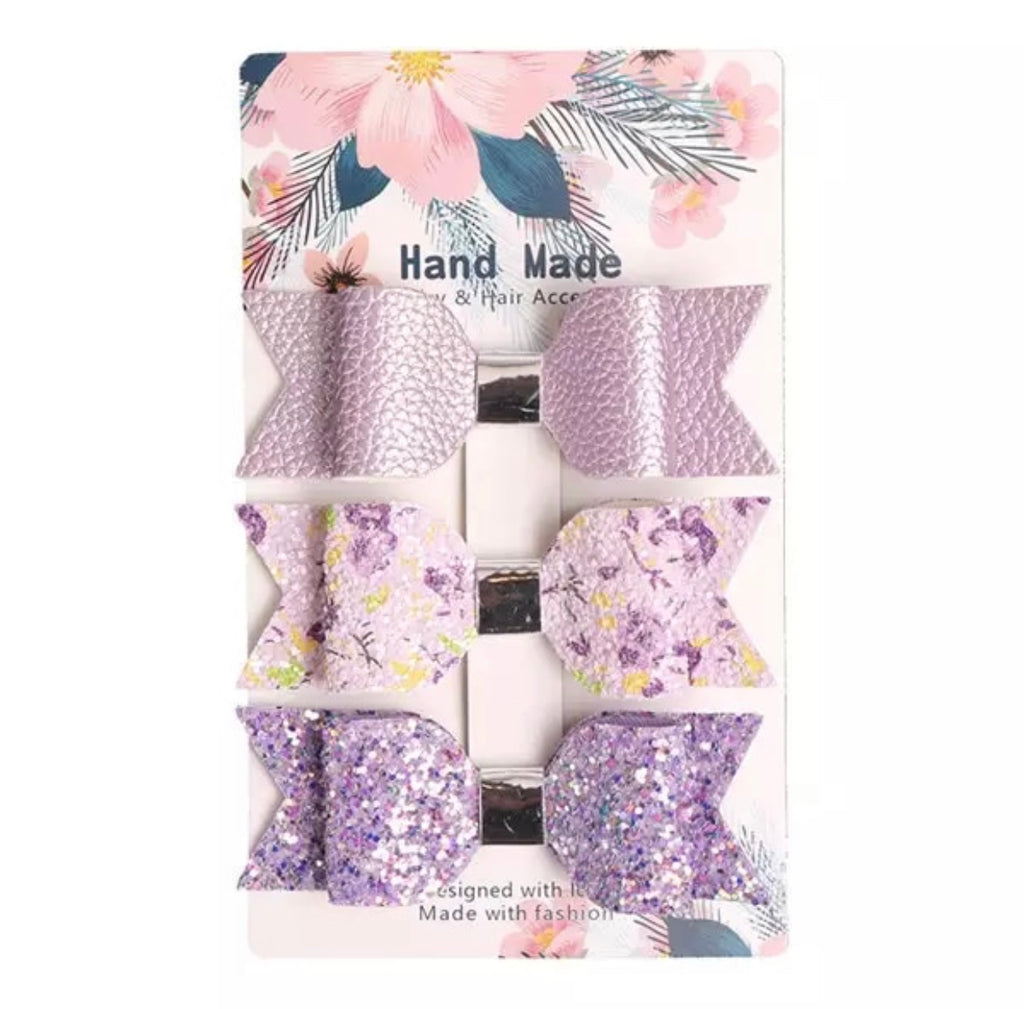 Lavender Delight Leather Bow Clips 3pk