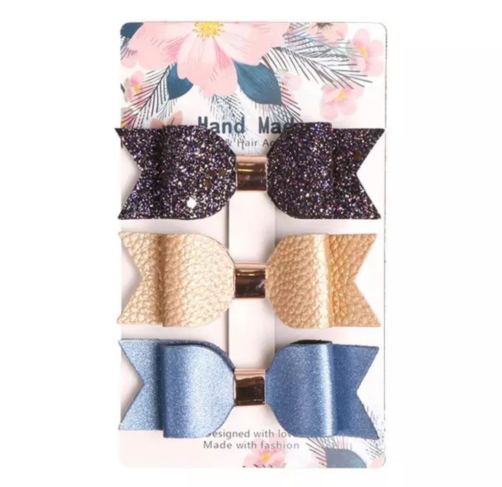 Midnight Shimmer Leather Bow Clips 3pk