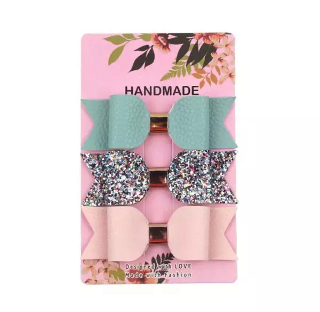 Mint / Multi Glitter / Baby Pink Leather Bow Clips 3pk