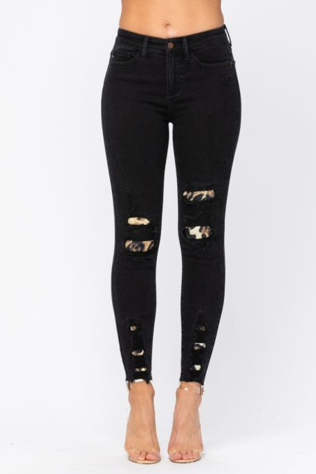 Judy Blue Black Animal Print Patched Mid Rise Denim Jeans