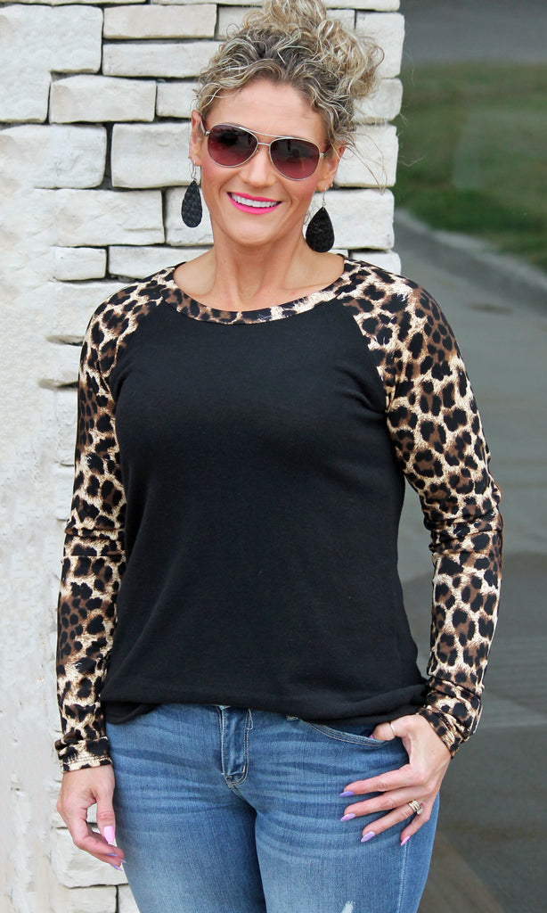 Animal Print Raglan Top For Women