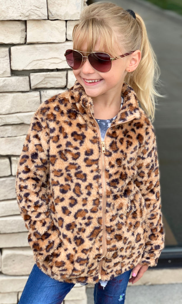 Animal Print Sherpa Jacket For Girls