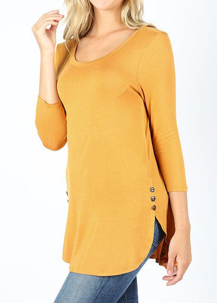 Ash Mustard Button Top For Women