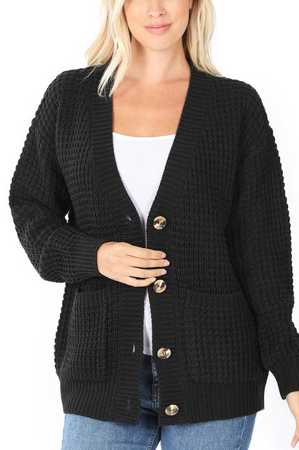 Black Chunky Waffle Cardigan For Women