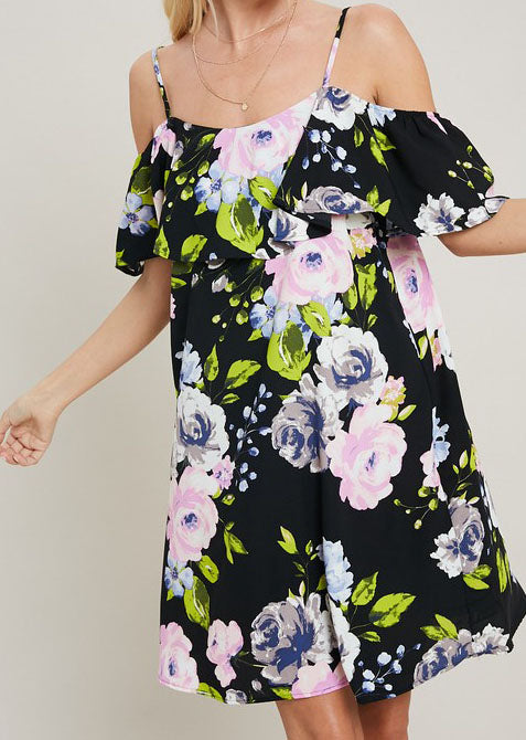 Black Floral Cold Shoulder Dress For Women