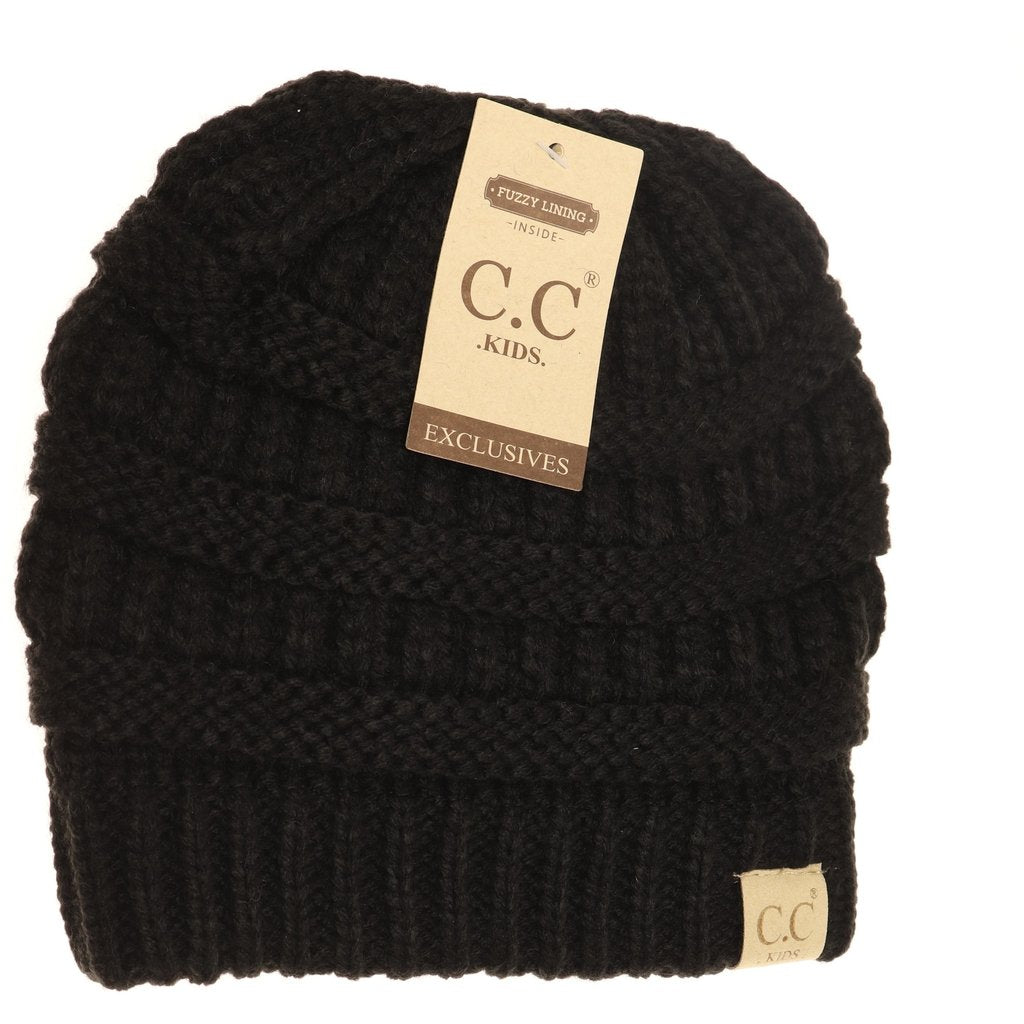 C.C. Black Sherpa Lined Beanie For Kids