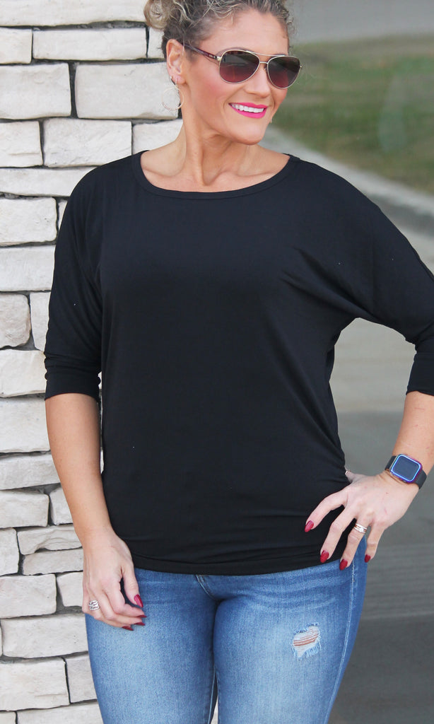 Black Ruched Dolman Top For Women