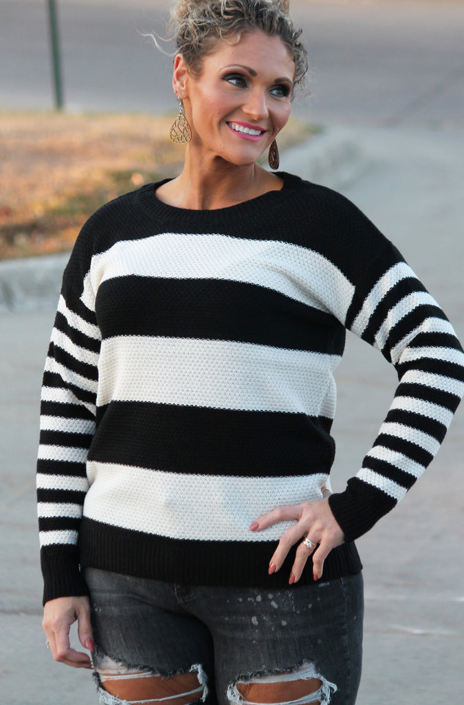 Black Stripe Sweater For Women